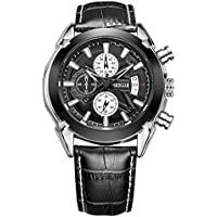 Mens Casual Business Chronograph Calendar Waterproof Analogue Quartz Watches with Black Leather Strap Wrist Watch