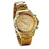 JewelryWe オリジナル メンズ 腕時計 ウオッチ 日本製クーオツ 日付表示 アナログ表示 ビジネス カジュアル 3ATM防水 ゴールド