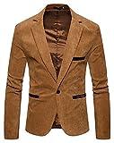 (ワトリズ)Whatlees テーラードジャケット メンズ ベロア キャメル 一つボタン 大きいサイズ ビジネス 秋冬B934-Khaki-S