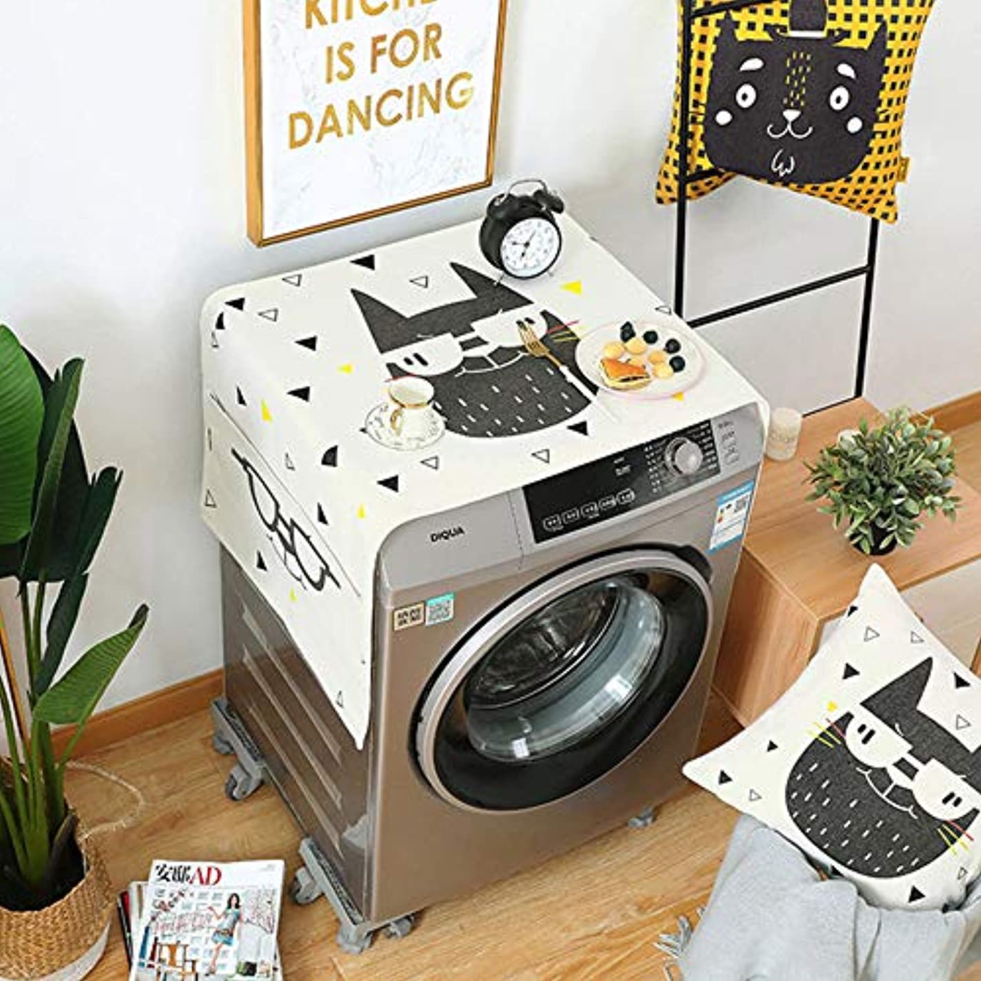 作曲するセクタ放送洗濯機カバー CMMBB 幾何学的な菱形の塵カバー洗濯機はポケットコットンリネンの塵カバーホームクリーニングと冷蔵庫の塵をカバー 55X140CM ハンサム