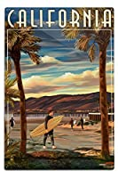 カリフォルニア – Surfer and Pier 12 x 18 Metal Sign LANT-45797-12x18M