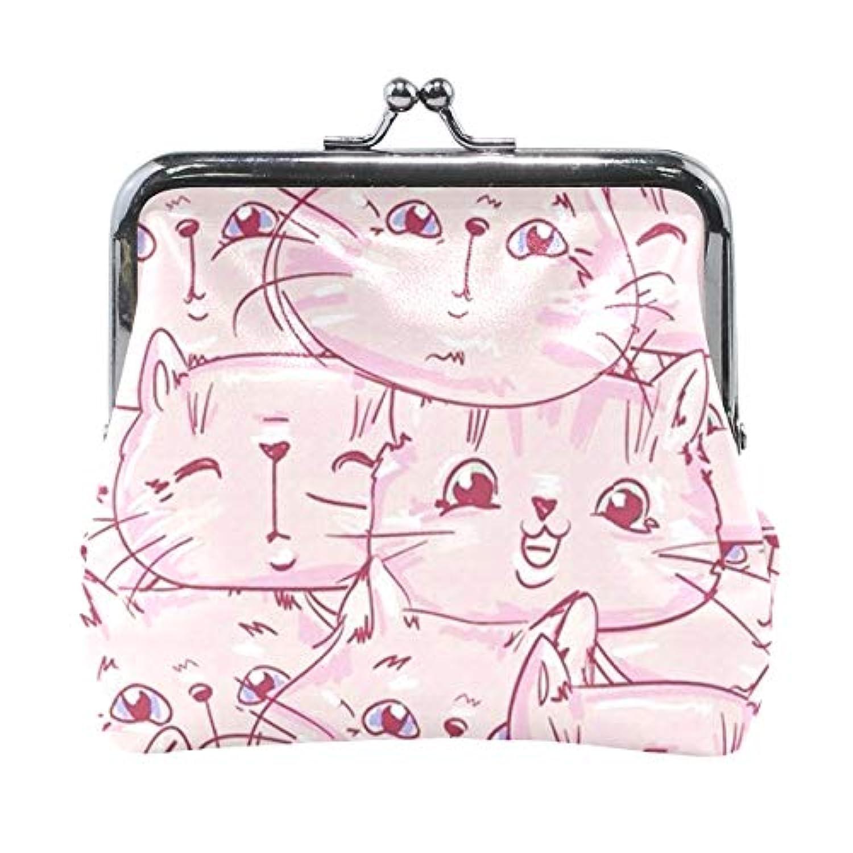 がま口 小銭入れ 財布 ピンクの猫 コインケース レザー製 丸形 軽量 人気 おしゃれ プレゼント ギフト 雑貨