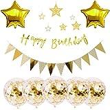 豪華HAPPY BIRTHDAY 誕生日 飾り付け セット風船 バースデー ガーランド デコレーション HAPPY BIRTHDAY スターバルーン(ゴールドHH-03)