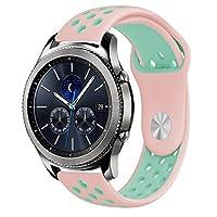 Samsung Gear S3バンド Comtax Galaxy Gear S3 Frontier/Classic, Asus Zenwatch 2, Moto 360 2nd Gen Men's 46mm, LG Watch Urbane 時計バンド (ピンク+グリーン)