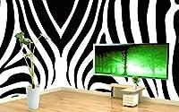 Bzbhart 3D壁画、シンプルな黒と白のシマウマパターンの要約、ホテルのリビングルームのソファテレビ壁の寝室の壁紙-200cmx140cm