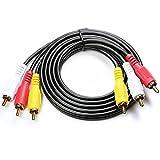 Top-Longer 3 ピン-3 ピン RCAピンケーブル オーディオTop-Longer ビデオケーブル ピンプラグ(映像+L-R)-ピンプラグ(映像+L-R) RCA ケーブル 1.5m