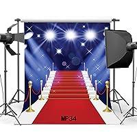5x 7ft / 150x 210cmビニール写真バックドロップエレガントHollywoodインドア階段レッドカーペットStarry Starsシームレスなウェディングイベントパーティー肖像画背景Studio Props mp34