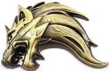 3D 立体 ステッカー ウルフ 狼 オオカミ エンブレム 金属製 左 右 簡単 貼り付け 両面 テープ 付き (ブロンズ左向き)