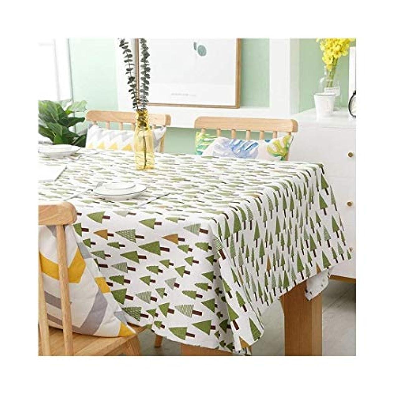 浴に対応ジョージハンブリーグリーンツリーパターンテーブルクロス白い背景の多機能装飾的なテーブルクロス通気性の綿と麻の生地ホームテーブルクロスヨーロッパの品質の材料摩耗テーブルクロス (Color : A)