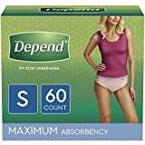 Depend FIT-FLEX Incontinence Underwear for Women, Disposable, Maximum Absorbency, S, Blush, 60 Count