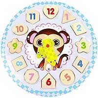HuaQingPiJu-JP 素敵な教育木製時計玩具アーリーラーニングタイムナンバーシェイプ子供のための色の動物の認知玩具(猿)