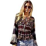 メンズ ピーコート Vovotradeファッションレディース夏ボヘミアン長袖カジュアルブラウスゆったりトップスTシャツ US サイズ: M カラー: ブラウン
