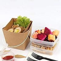 クラフト紙のお弁当箱使い捨て可能なプラスチックフードランチボウル - ふたコンパートメント食事準備容器で再利用可能 (Color : 20PACK)