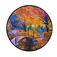 カオリヤ フロアマット もみじの森柄 庭園柄 油絵柄 直径92cm 円形 マルチカラー センターラグ 床マット チェアマット インテリアマット