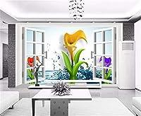 Bzbhart 壁紙3Dウィンドウ水Dreamy Calla Lily壁紙3d on the壁家の装飾リビングルーム壁装-200cmx140cm
