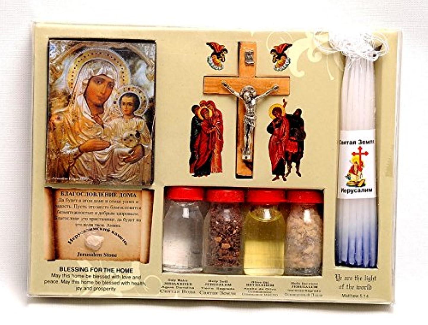 ズームインする貼り直すぼかしホーム祝福キットボトル、クロス&キャンドルに聖地エルサレム