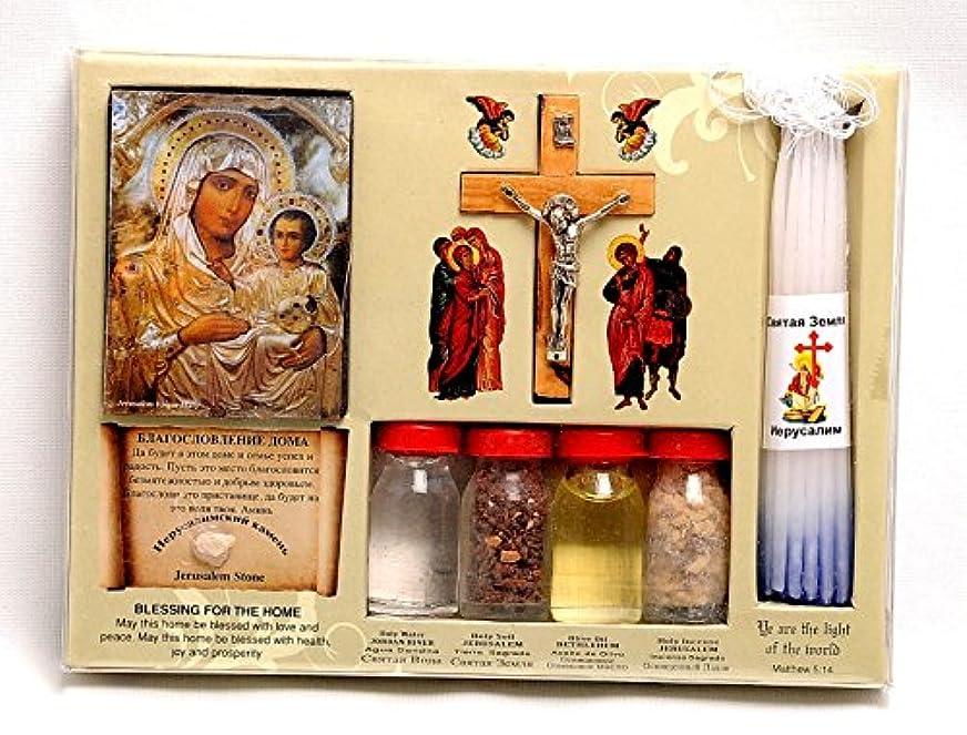 期待するスラック知覚できるホーム祝福キットボトル、クロス&キャンドルに聖地エルサレム