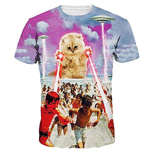 Tシャツ メンズ レディース 3Dプリント YOKINO 夏半袖Tシャツ 男女兼用 デザイン ファシ...