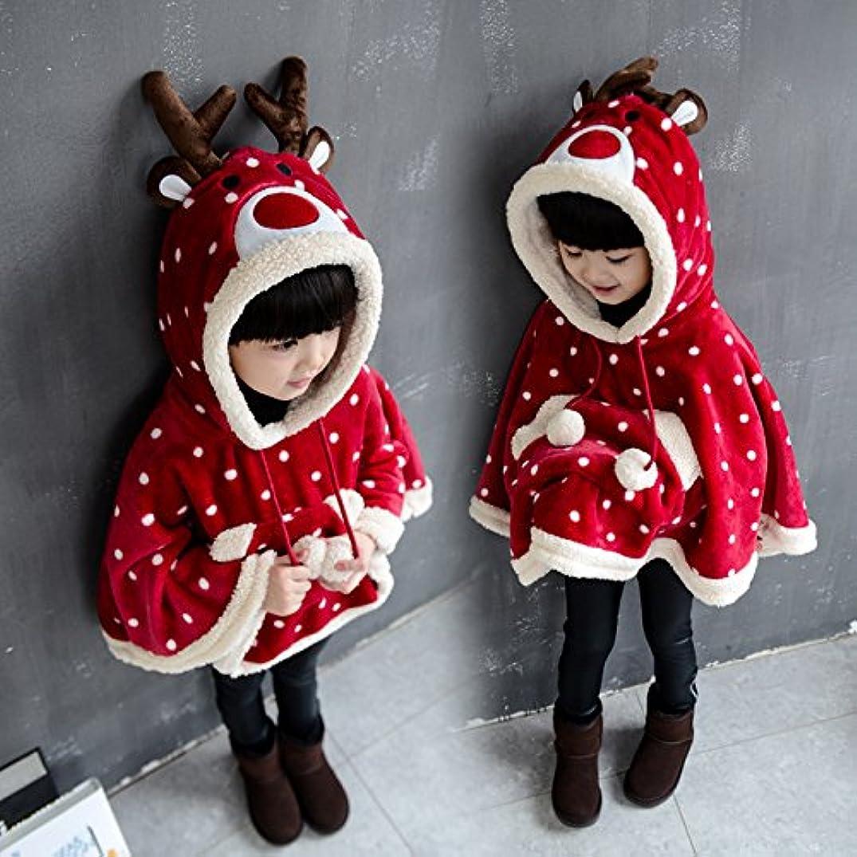 世論調査聞きます年金エルクに変身  トナカイ 可愛い サンタクロースマント   ポンチョ  サンタ服 キッズ 赤ちゃん 幼児 子供 仮装 コスチューム クリスマスグッズ クリスマス マント (ドット柄)