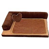 ペット ソファー モコモコ クッション スクエア 安眠 ベッド 犬 猫 寝台  四季通用 マット ぐっすり眠る 休憩所 洗える かわいい ござ 付き 寝床 ブラウン S …