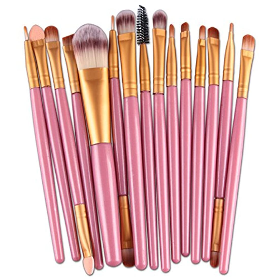 粘性のチップビジター15ピース化粧ブラシキット OD企画 カラフルなフェイスコンシーラーアイシャドー女性のためのツール女の子の日常生活やパーティー パウダーアイライナー赤面スリップファンデーションメイクアップ美容ブラシセット