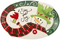 Fitz and Floyd Holly Hat Snowman Sentiment Tray by Fitz and Floyd