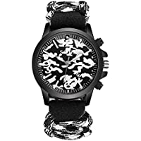 Swyssファッショントレンドメンズカモフラージュナイロンバンド腕時計シックアクセサリー個性カジュアルハンサム腕時計 M LL10