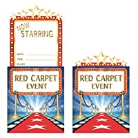 Creative Converting 8 Count Popup Hollywood Lights Invitation, Blue/Red/White/Gold by Creative Converting