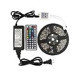 Amazon.co.jpWenTop LED テープライト SMD 5050 両面テープ 5m 300連 led light RGB 60leds/m 44Kコントローラーと 12v電源 高輝度 リモコン ledライト 明るいライト テレビ、天井什器、PC、キッチン照明用