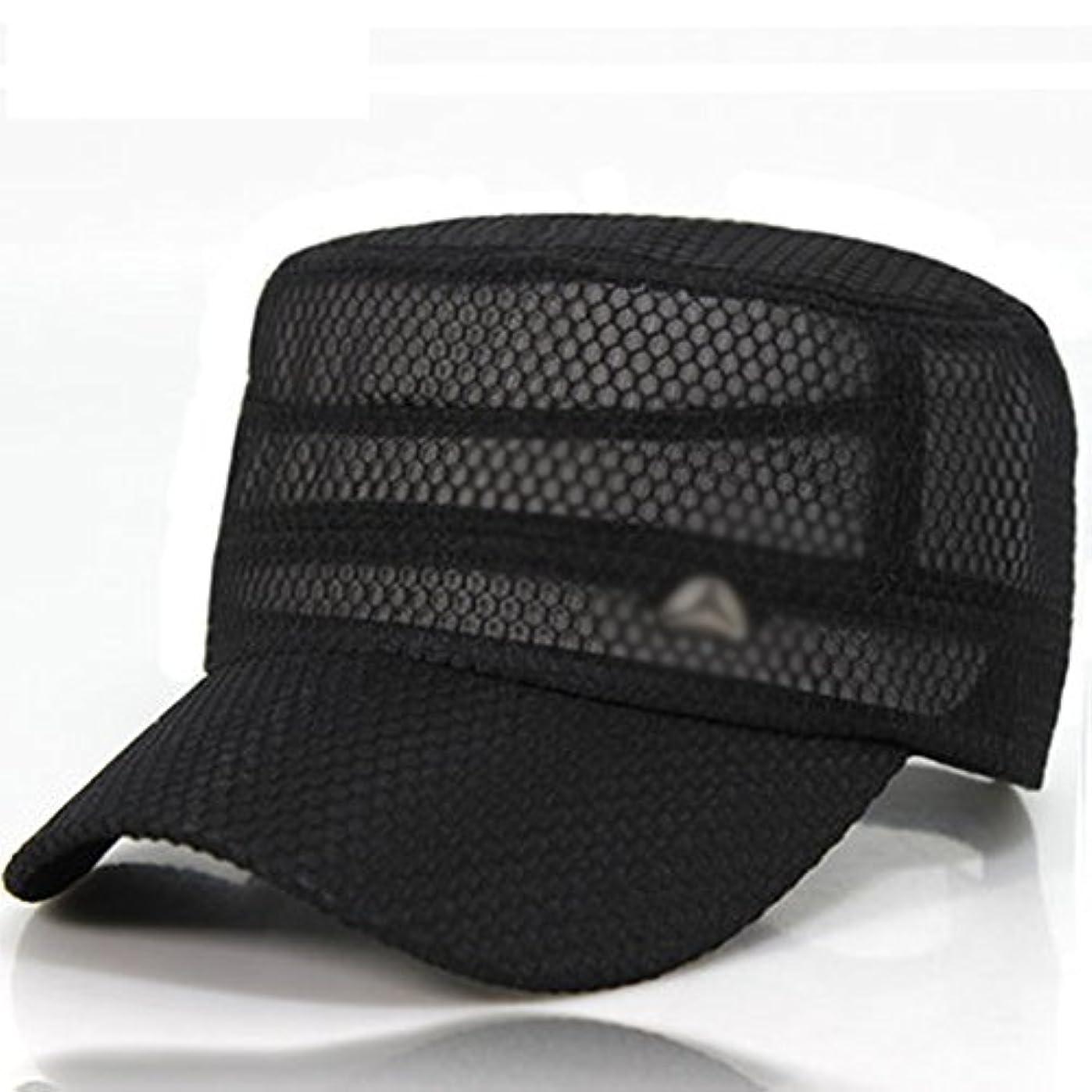 ディレクター指令かなりの李愛 帽子 サマークールキャップフラットトップネットキャップアウトドアサンシェイドクイックドライキャップスポーツキャップメッシュキャップ (色 : 黒)