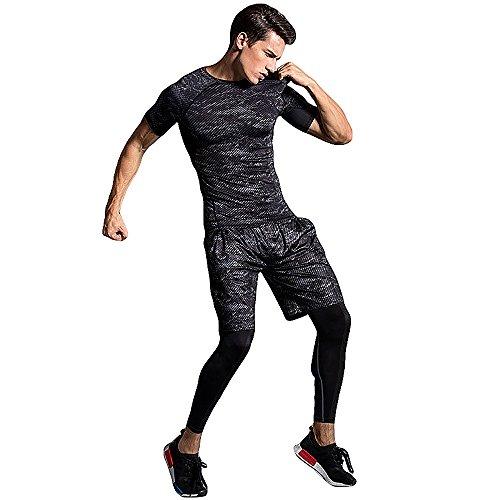 メンズ トレーニングウェア コンプレッションウェア 3点セット 半袖シャツ ...
