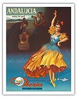 アンダルシア、スペイン - その呪文の下でお楽しみください - スペインのイベリア航空 - ビンテージな航空会社のポスター 1959 - アートポスター - 28cm x 36cm