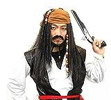 """【ELLEJE】 """" Pirates of the Caribbean """" ジャックスパロウ 風 コスプレ ウィッグ お得 セット ウィッグネット & ウィッグスタンド & なりきり タトゥー シール (バンダナ(茶色))"""