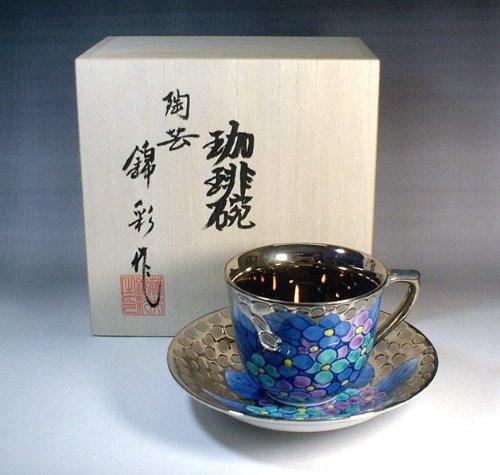 有田焼・伊万里焼 プラチナ彩紫陽花絵コーヒーカップ|贈答品|記念品|ギフト|プレゼント|藤井錦彩