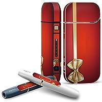 IQOS 2.4 plus 専用スキンシール COMPLETE アイコス 全面セット サイド ボタン デコ ラグジュアリー リボン 赤 白 002837