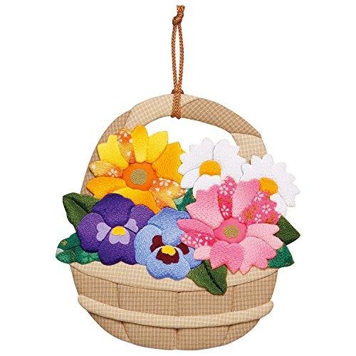 さくらほりきり 手作りキット 押絵飾り 春のフラワーバスケット 縦18×横17cm