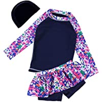 YiZYiF 3PCS Kids Girls Tankini Long Sleeves Floral Print Swimsuit Swimwear Set Tops with Skirt Bottoms