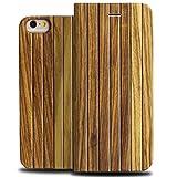 iPhone6 plus iPhone6s Plus ケース 職人人気手作り木製携帯ケース 手帳型高級保護カバー 天然木使用(5.5インチ) (ZEBRAWOOD)