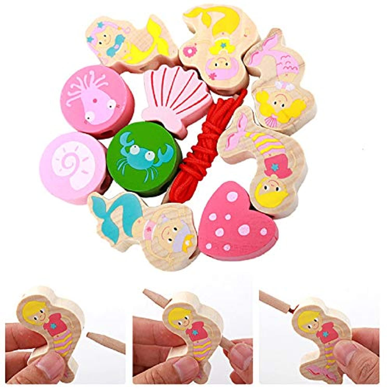Zhenyu 木製玩具 ベビーDIY玩具 木製ビーズおもちゃ マーメイドビーズ 学習と教育 子供 女の子へのギフトに
