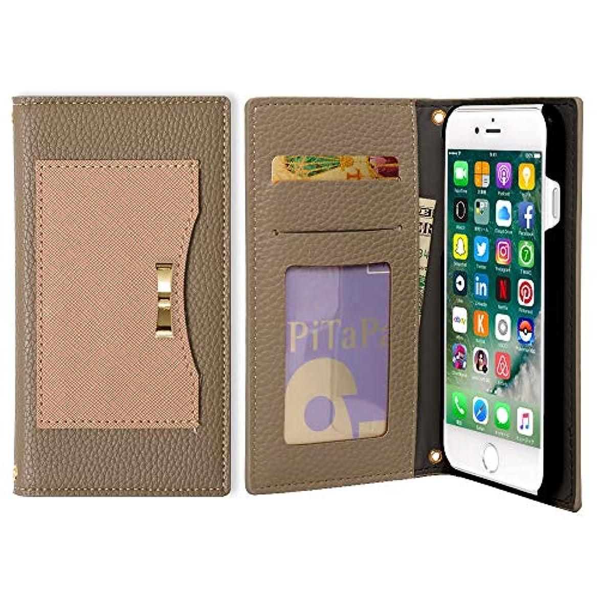 ランタン進行中豊富らくらくスマートフォン4 F-04J ケース 手帳型 大人 かわいい ゴールド リボン ポケット付き マグネットなし カバー (ブラウン×ピンク) DoCoMo ドコモ