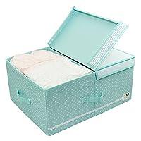 蓋とリムーバブルディバイダを備えた布製オーガナイザー収納ボックス、折りたたみ収納棚とガールズのかわいいカラー、ピンク (Color : Green)
