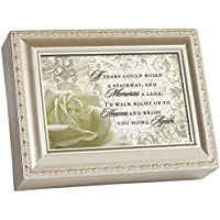 Cottage Garden Bereavement Champagne Silver Music Box / Jewellery Box Plays Amazing Grace