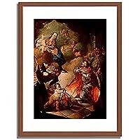 Meister, Ungarischer,18.Jahrhundert「Der hl.Stephan bietet seine Krone der hl.Jungfrau an.」インテリア アート 絵画 プリント 額装作品 フレーム:木製(茶) サイズ:M (306mm X 397mm)