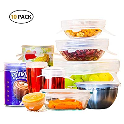OZCOTC Silicone Stretch Lids | Pack of 10 Including XL and 4 Small lids | Reusable - Various Sizes