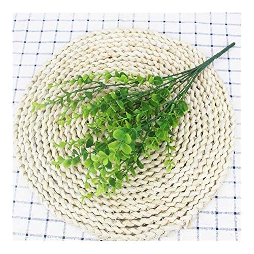 ゴルフ戸口試みる7つのフォーク人工植物ユーカリグラスプラスチックシダ緑の葉フェイクフラワー植物の結婚式ホームデコレーションテーブル装飾 (Color : 01)