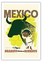 メキシコ - ブルと若いマタドール - ブラニフ 国際気道 - ビンテージな航空会社のポスター c.1950s - アートポスター - 76cm x 112cm