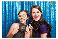 4FTx7FT スパンコール背景、スパンコールフォトブース背景、パーティー背景、結婚式背景、光り輝く背景、クリスマス飾り 発売中 4FTX7FT ブルー COMINHKPR151718
