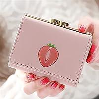 フルーツプリント女性ショート財布 (ピンク)