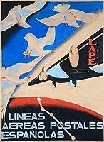 Lineas Aereas Postales Espanolasヴィンテージポスター(アーティスト: Ane )スペイン 24 x 36 Signed Art Print LANT-58004-710
