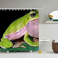 シャワーカーテン 165*180cm カエル バスルーム 防水カーテン 折りたたみ式 目隠し 防水 防カビ 軽量 ポリエステル 抗菌 リング付